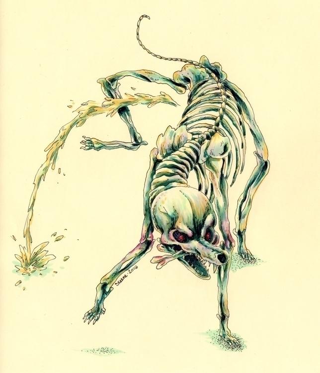 dog, pee, piss, canine, pet, skeleton - skeenep | ello
