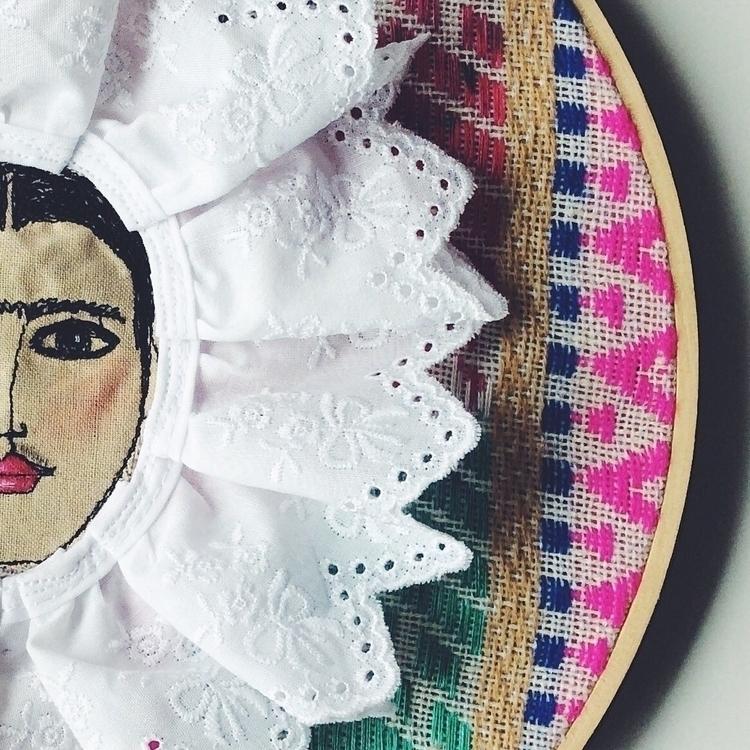 Frida Kahlo textile art Portrai - alittlevintagedoll | ello