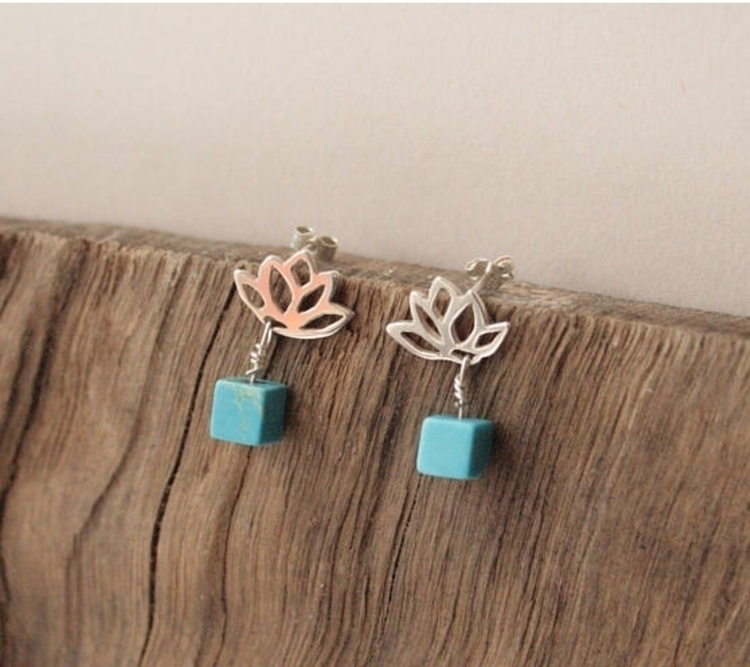 Wee lotus turquoise studs - recycledsilver - stacyccarmichael | ello