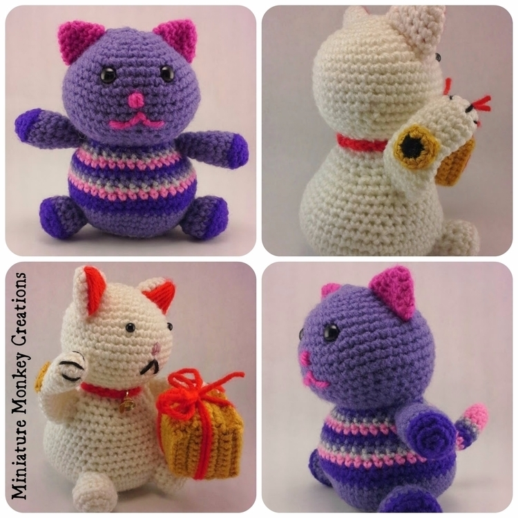 Lucky Cat Fat Kitty happy Custo - miniaturemonkeycreations | ello
