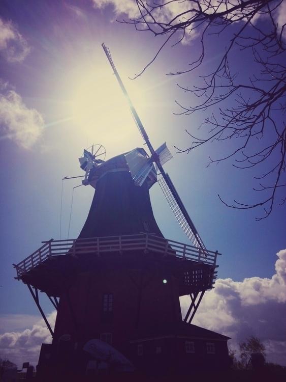 windmill, sky, clouds, sun, greetsiel - claudio_g_c | ello