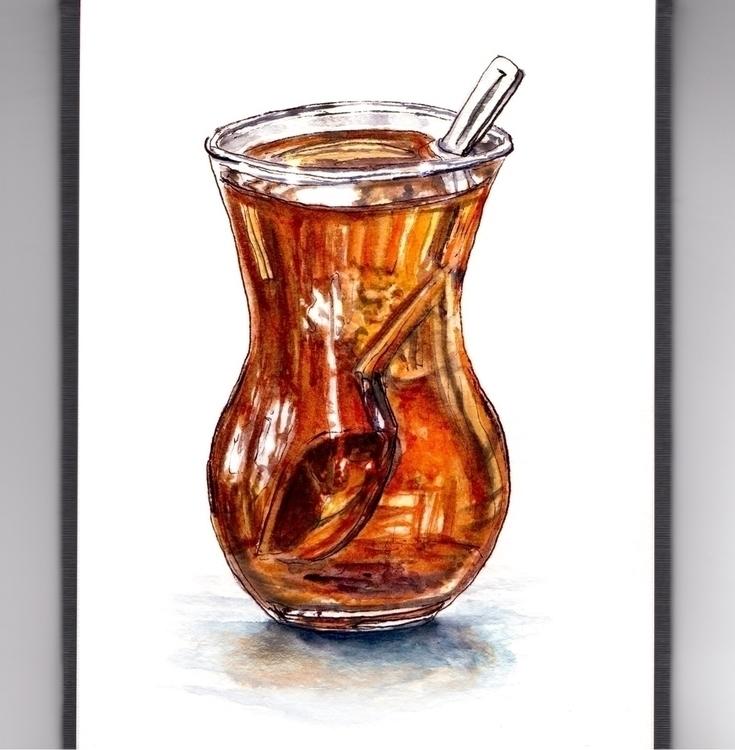 Tea Break - watercolor, watercolour - doodlewash | ello