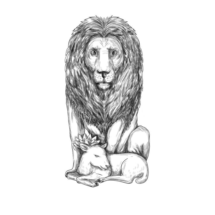Lion, Watching, Lamb, Tattoo - patrimonio | ello