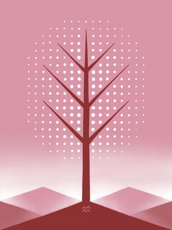 landscape tree: spring hand-dra - miriamdraws | ello