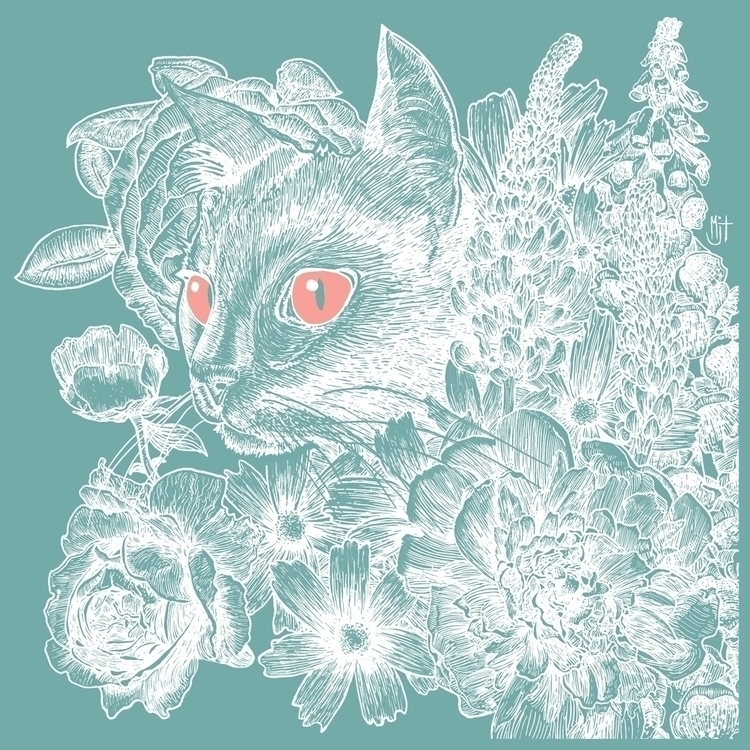 Pen ink drawing clayboard cat f - mjtillustration | ello