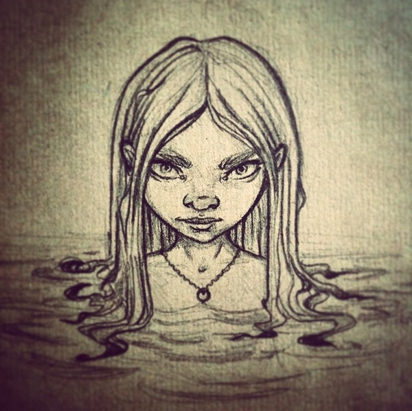 girl, water, sketch, pencil - inkiestuff | ello