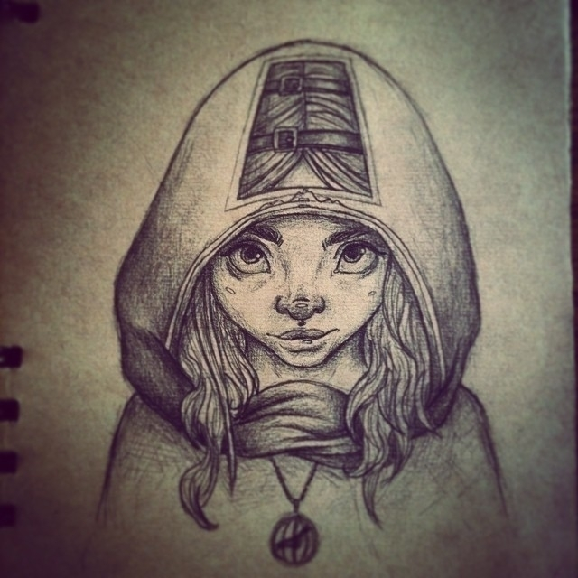 girl, hooded, sketch - inkiestuff | ello