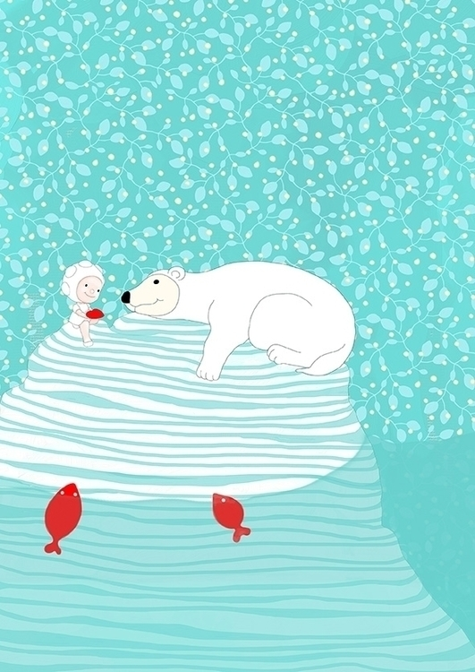 white bear - illustration, childrenillustration - cristinafontanaghelfi | ello