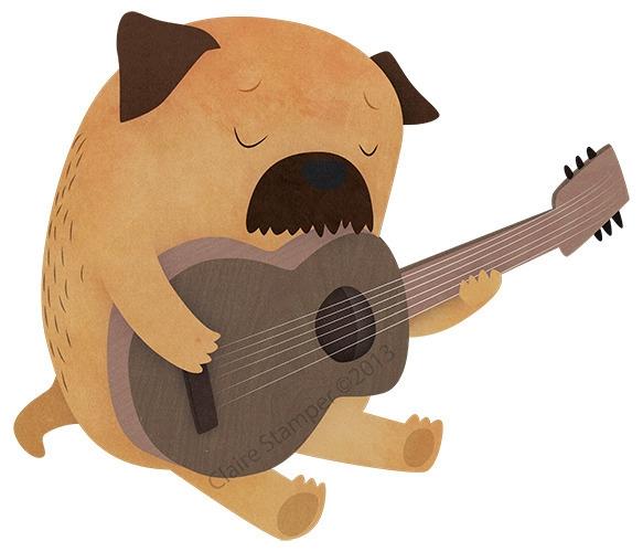 Sad Dog - dog, terrier, guitar, character - clairestamper | ello