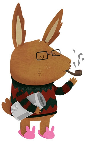 Papa Rabbit - rabbit, pipe, newspaper - clairestamper | ello