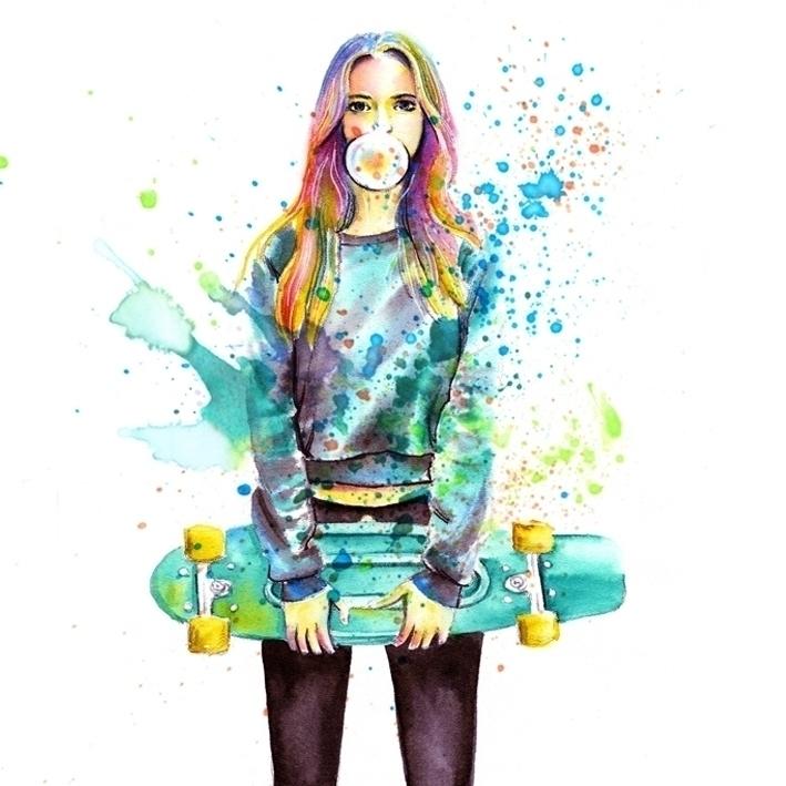 illustration, painting, skateboard - mistakeann | ello