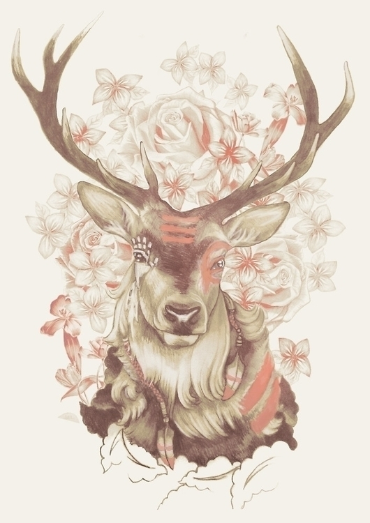 Stag Dreams - deer, stag, horns - meganpalmer | ello