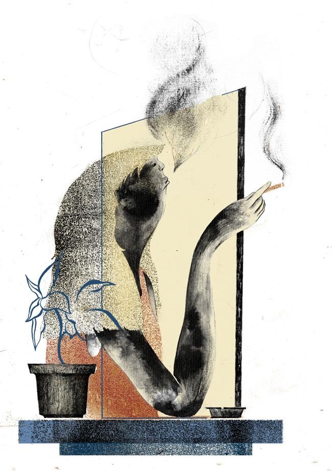 Stop - illustration, ink, smoke - paojulin | ello