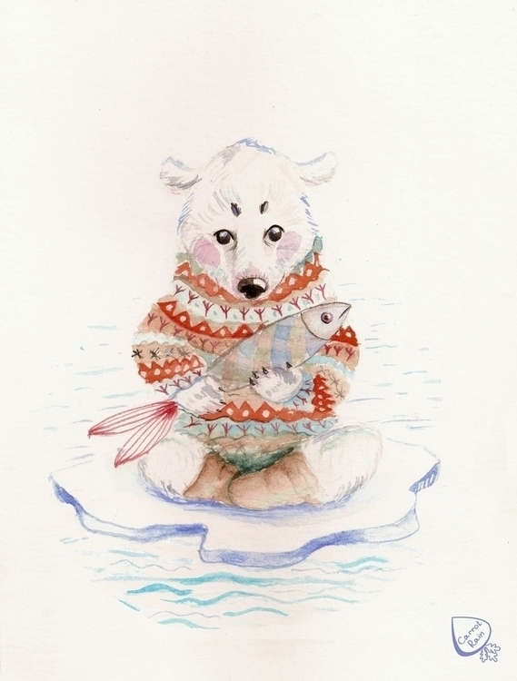 illustration, bear, fish, polarbear - carrotrain | ello