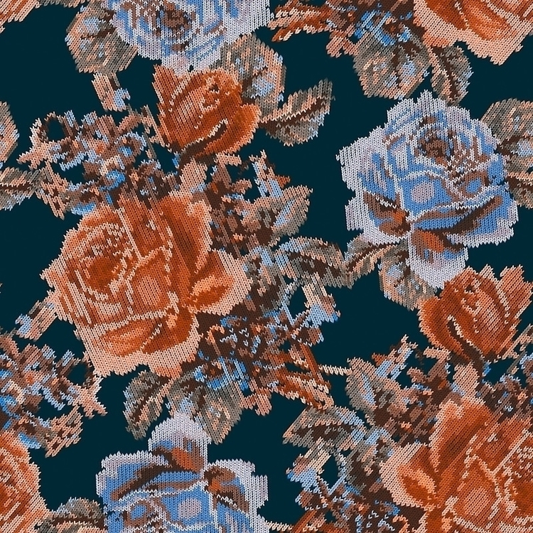 English Garden Navy/Sienna - illustration - meganpalmer | ello