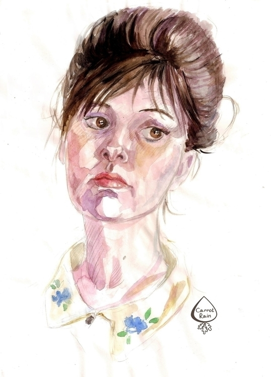 portrait, watercolor, woman - carrotrain | ello