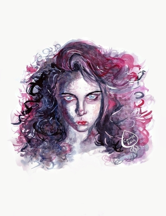 portrait, girl, watercolor - carrotrain | ello
