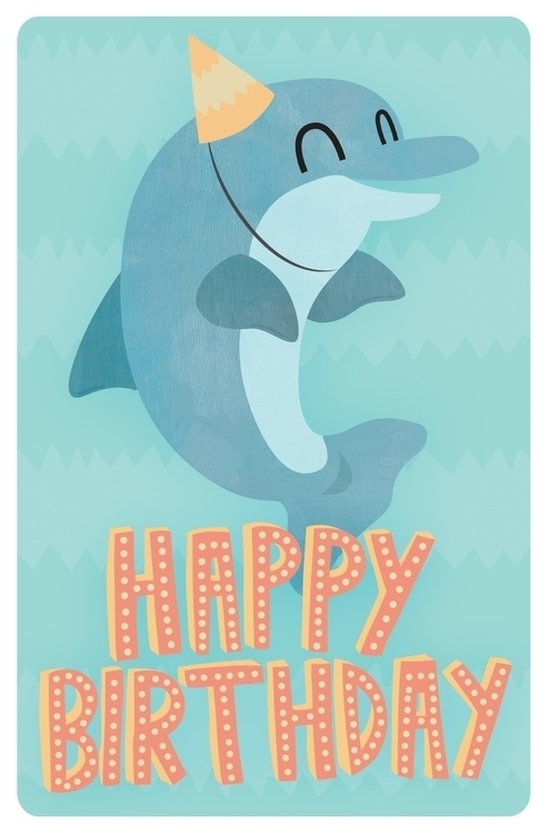 Birthday Card - Dolphin - greetingscard - clairestamper | ello