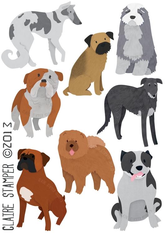 Dog Breeds 2 - Borzoi, terrier, bulldog - clairestamper | ello