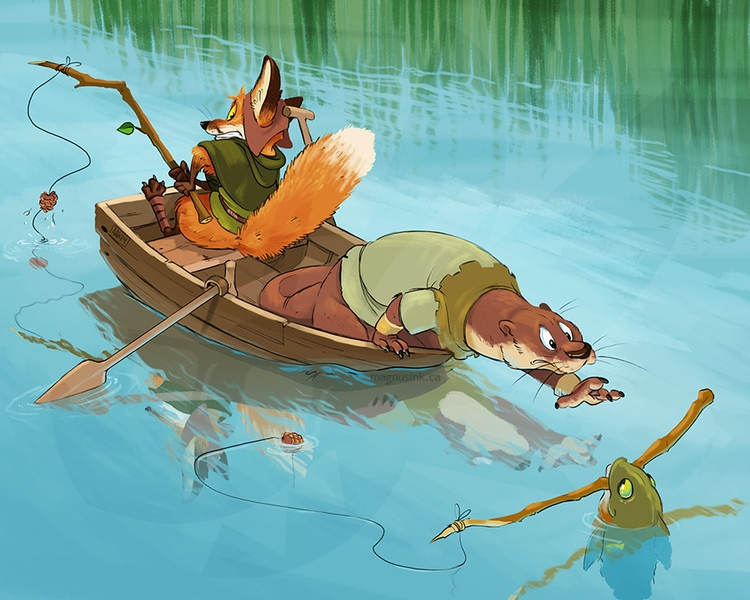 Forest critters fishing - anthro - magnus-1542 | ello