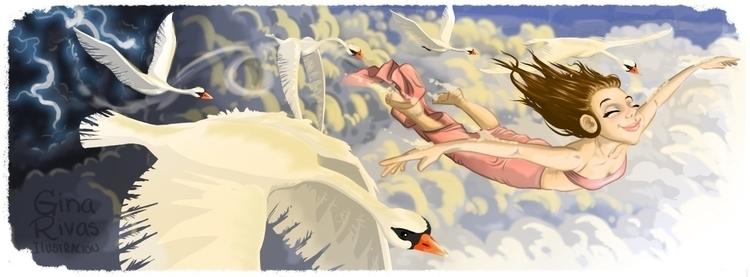 Flight swans - ginarivas | ello