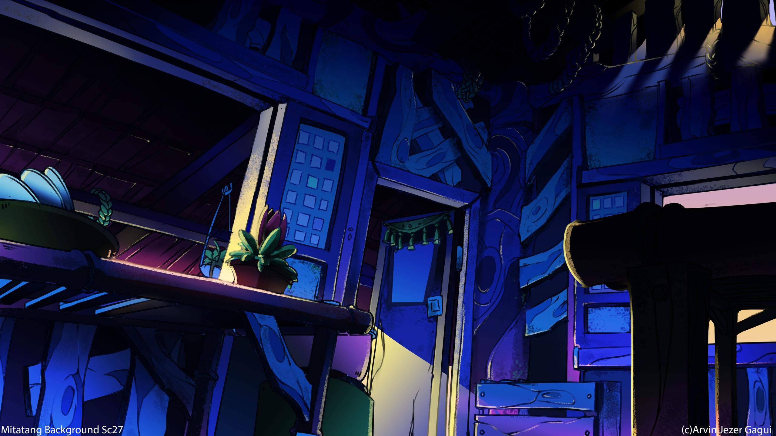 Nipa Hut Interior Background - drawing - arvinjezergagui | ello