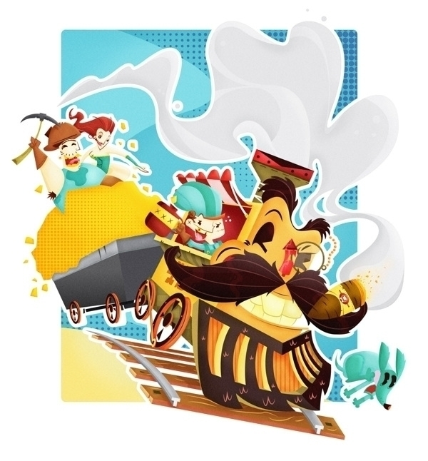 Gooooold - illustration, gold, train - jjneto   ello