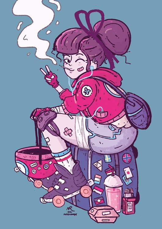 Roller derby girl transit - characterdesign - paperwombat | ello