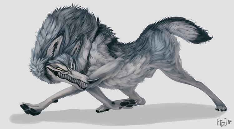 Big Bad Wolf - wolf, sketch, grey - mozakade | ello