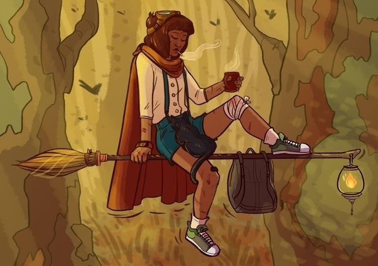Student witch smoke break - illustration - rachelpoulson   ello
