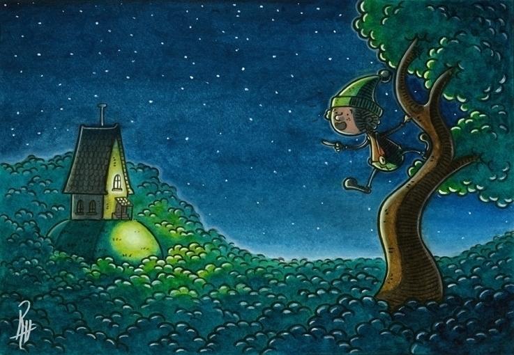 wood - illustration, painting, littlethumb - marcorizzi-1205 | ello