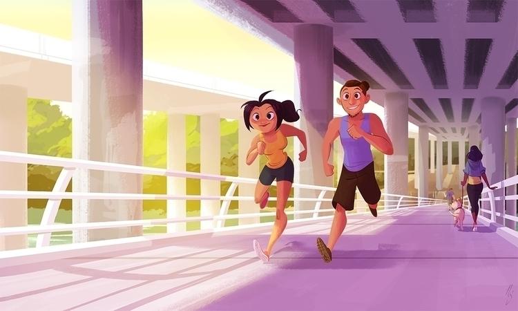 morning jog - digitalart, art, illustration - nickswift | ello