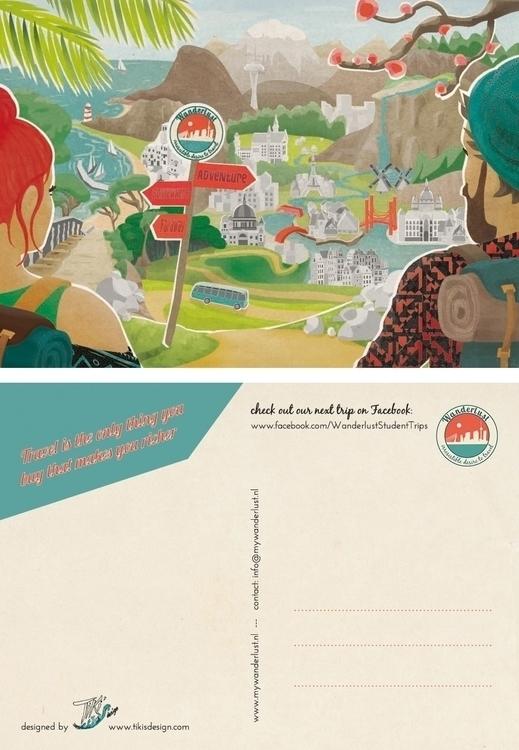 Wanderlust Postcard - illustration - tiki-1251 | ello