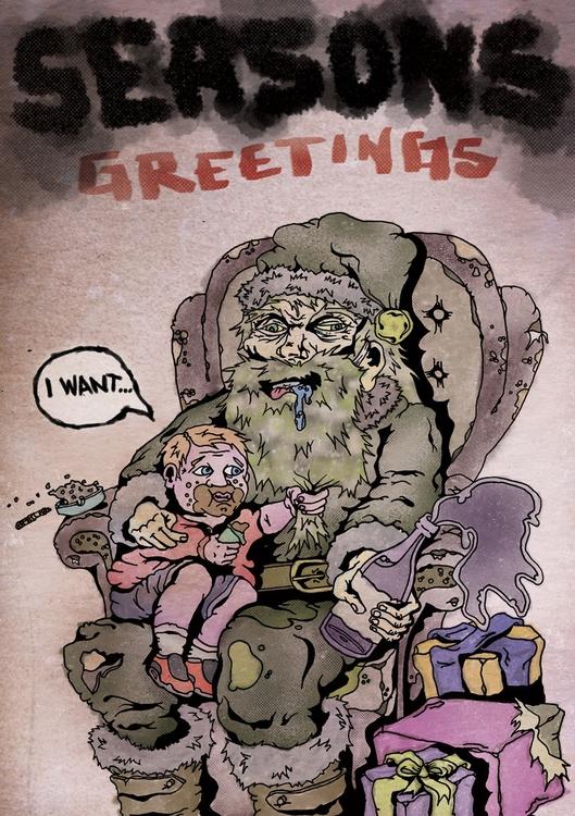 Santa - illustration, drawing, christmascard - drawnstar | ello
