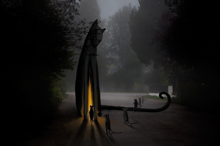 Cats Temple - illustration, photography - skuggan | ello