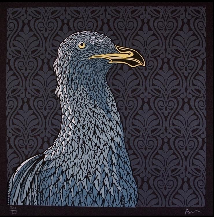 Dark Seagull - seagull, birds, silkscreen - andywilx | ello