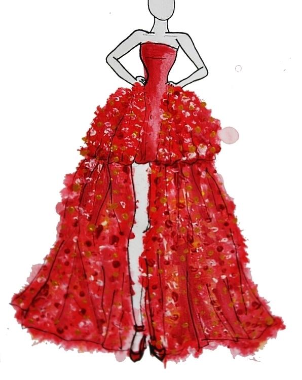 red gown art - fashionart - kaitlynsmith | ello