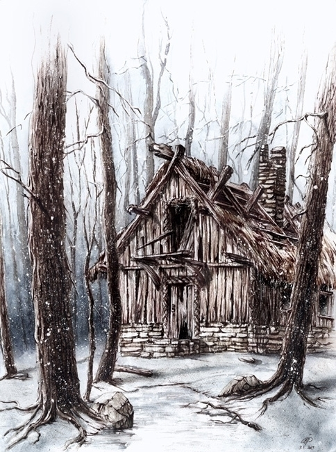 hut painted imagination. Ink wa - grimdream | ello