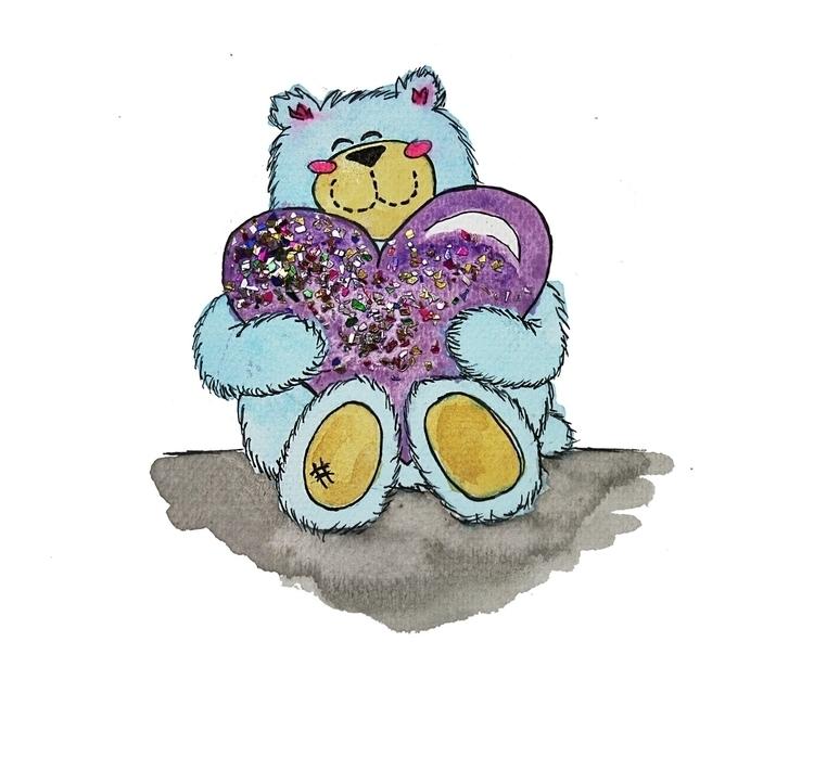 birthday bear - illustration, balloon - kaitlynsmith | ello