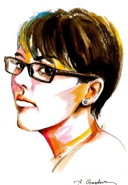 illustration, portrait, watercolor - annagosteva   ello