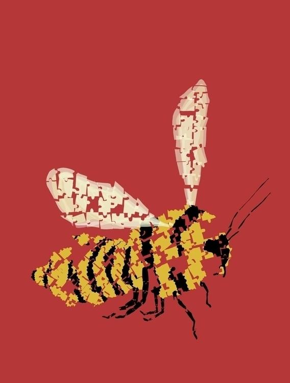 Puzzle Bee - puzzle, bee, red - charlottekingstonlarson | ello