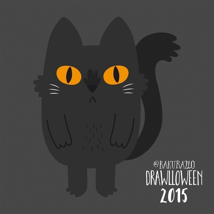 28 - Black Cat - cat, blackcat, drawlloween - clairestamper | ello