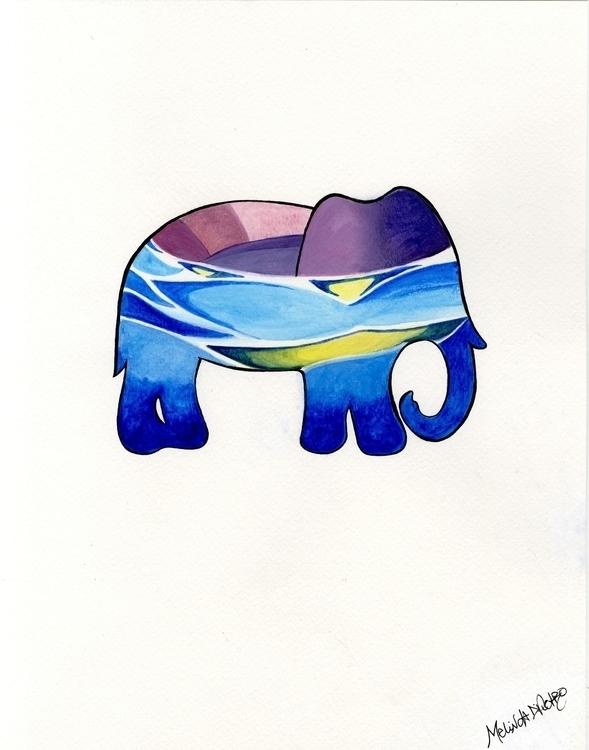 Water Elephant 2 - elephant, illustration - melindadipietro | ello