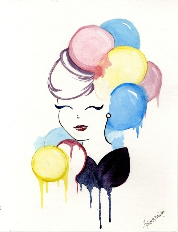 Water Color Girl - bubbles, bubble - melindadipietro | ello