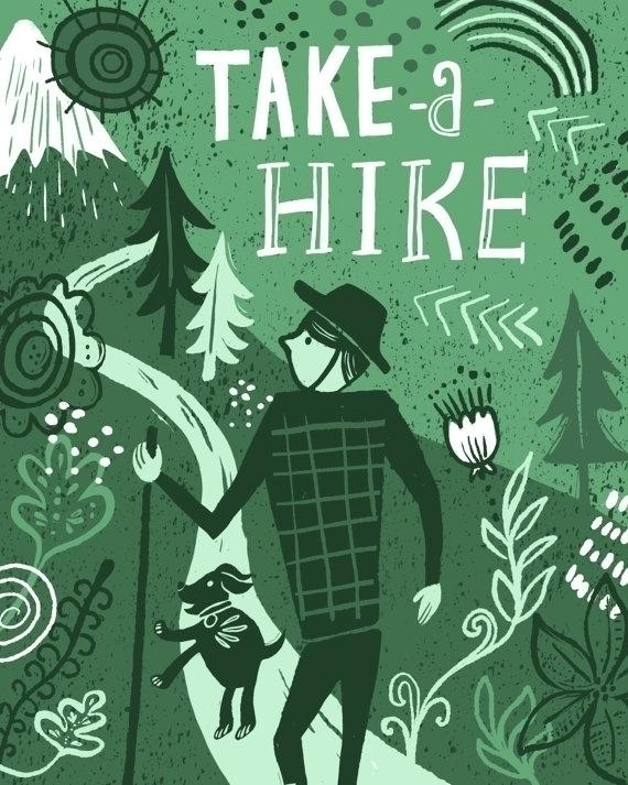 Hike illustration print - pnw, hike - estherloop | ello