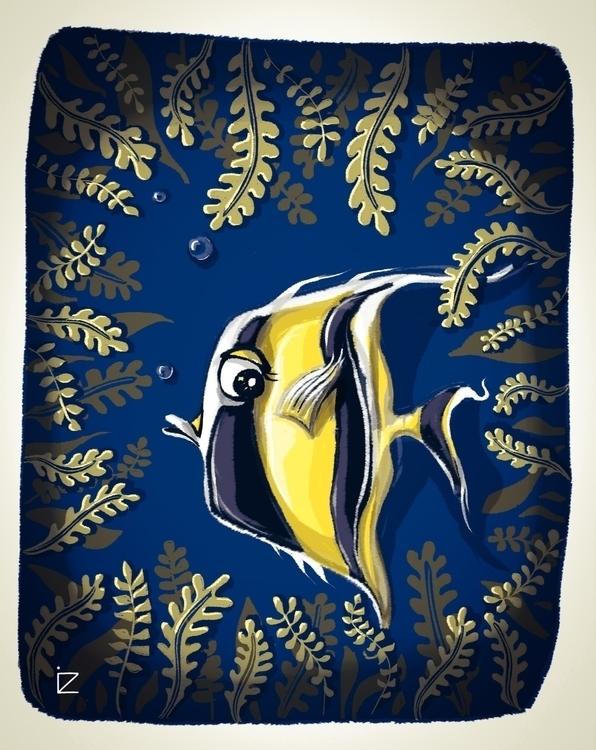 Uups - fish, underwaterworld,fish,seacreatures,seamonsters,octopus,octopi,octopusses,weirdfish,seamonsters,mixedmedia,illustration - ioanaz | ello