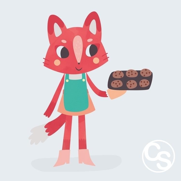 Baking Cat - cat, baking, cookies - clairestamper | ello