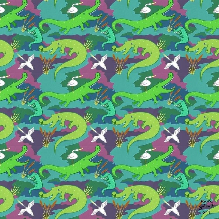 Gators Digital - illustration, pattern - lgallantart | ello