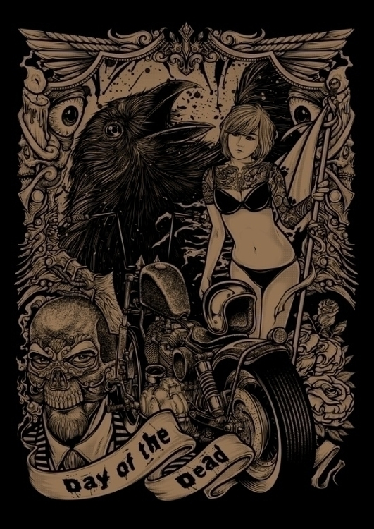 Winya 32 - crow, dayofthedead, motorcycle - winya | ello