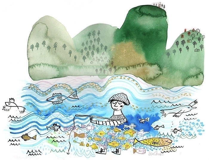 Fisherman - watercolour, watercolor - lisacinar | ello